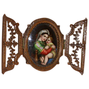 REDUCED Madonna and Holy Child - Painting on Porcelain With Hand-Carved Wood Frame  c 1870