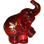 REDUCED Fenton - Ruby Elephant - Handpainted, Signed, J. K. Spindler