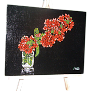 "REDUCED Original Oil Painting - ""Bougainvillea In A Glass"" - Signed, Paul Herman"