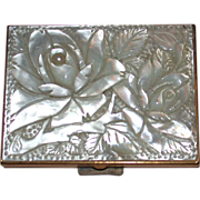 Vintage French Mother Of Pearl Compact by Patrys c. 1965