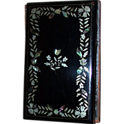 Victorian Aide Memoire, Black Lacquer Covers, Inlaid Silver And Mother Of Pearl Floral Decorat