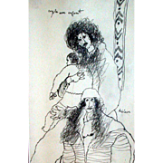 "Outstanding Original Drawing by Theo Tobiasse, ""Couple Avec Enfant"" - Signed and Tit"