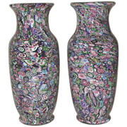 Extraordinary Offering:  Extremely Rare Museum Quality Antique Clichy Pair Of Signed Scrambled
