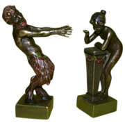 Antique Franz Bergmann Erotic Vienna Bronze Large Scale  Pair - Satyr and Nymph, Well-Listed