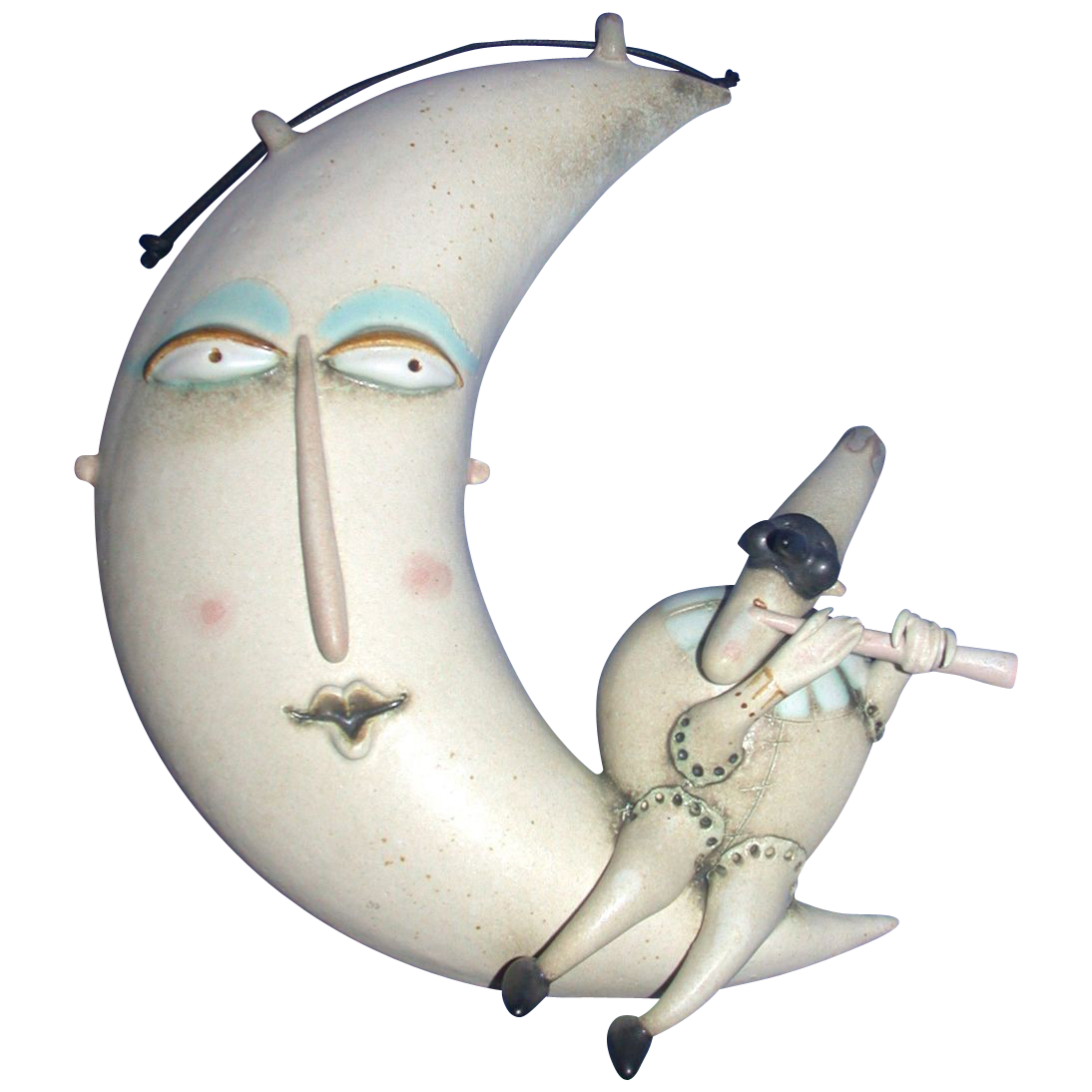"Original Ceramic Sculpture by Riccardo Biavati - ""Puncenella On Moon"" - Signed"