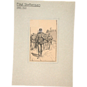 Poul Steffensen (1866-1923) - Original  Pencil, Pen and Watercolor Drawing on Paper, Circa 190