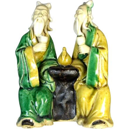 Chinese Mudmen - RARE Seated Pair With Teapot (Symbol For Hospitality) - Circa 1920s