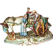 "REDUCED Borsato - Multi-Figural Porcelain Sculpture - ""The Wine Vendor"""