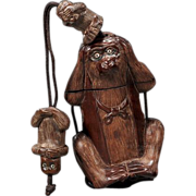 "Very Unusual Antique Single Case Wood Inro ""Three Wise Monkeys"" - Circa 1900"