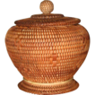 Finely Woven Vintage  Basketry Footed Jar With Cover