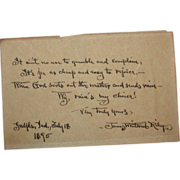 Signed Hand-Written Poem In Dialect By Well-Listed American Author James Whitcomb Riley  ...