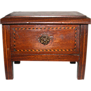 Carved Mahogany Dimunitive Chest With Inlaid Parquetry