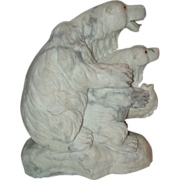 Carved  Marble Multi-Figural Group  of Two Polar Bears With A Fish,  Circa mid 20th ...