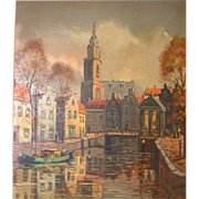 SALE PENDING Original Oil On Canvas - Amsterdam Scene - Signed, Didier