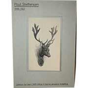 "Antique Original Drawing by Poul Steffensen (1866-1923), ""Hunter's Trophy"""
