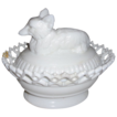 Atterbury Glass Fox on Basket - Two Piece Milk Glass Set - Circa 1900