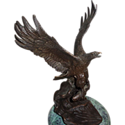 "Bronze Sculpture - ""Eagle With Prey"" - Signed Chope"