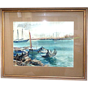 REDUCED Rudolf Jacobi (1889 - 1972) - Exquisite Watercolor Harbor Scene