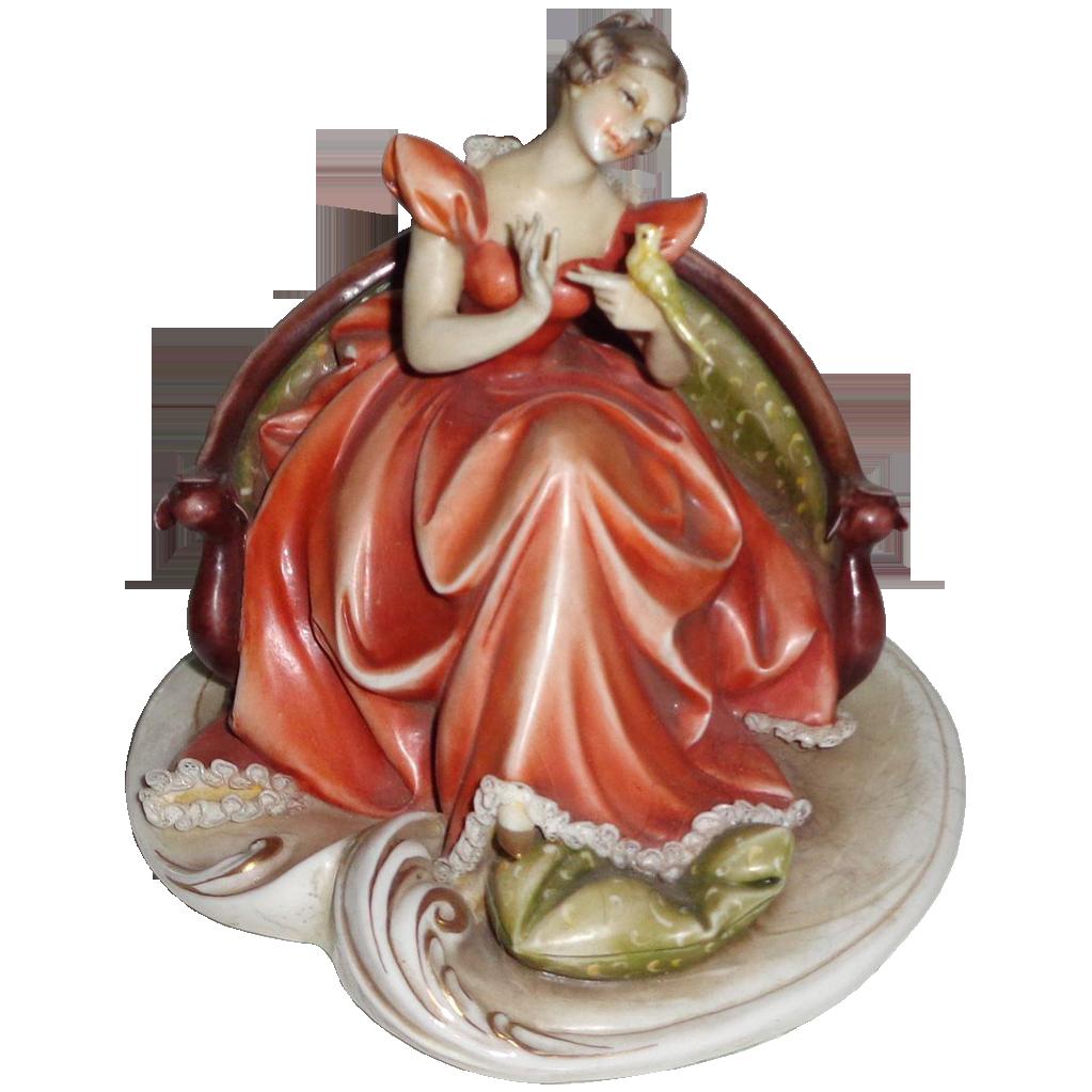 Borsato Porcelain Birds Borsato Woman With Bird