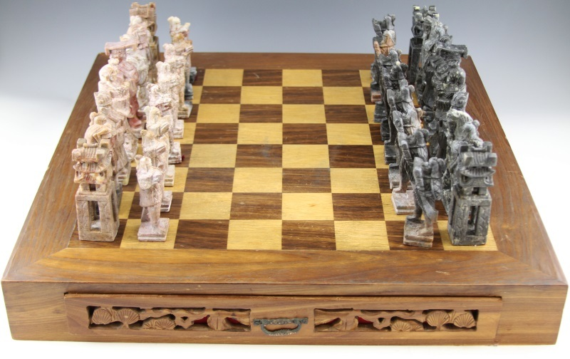 Chinese Carved Soapstone Chess Set From Barkusfarm On Ruby