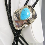 Signed K. Harper Bolo Tie in Sterling Silver and Turquoise with Leather Rope-Beautiful!