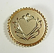 Signed Catamore 12KT Yellow Gold Brooch with Engraved Heart and Flower � c. 1960
