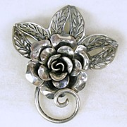 SALE Signed Jewelart, Unusual Sterling Silver Floral Pin Brooch