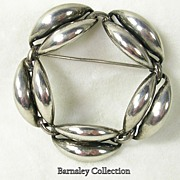 SALE Signed Danecraft, Sterling Silver Wreath Circular Brooch Pin �c. 1950s