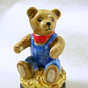SALE Signed Halcyon Days Vintage Porcelain Teddy Bear Trinket Box