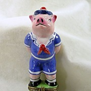 SALE Hand Signed Limoges France Peint Main Chamart, Sailor Pig Trinket Box