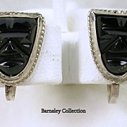 SALE Signed Mexico Vintage Silver Art Deco Carved Onyx Mask Screw back Earrings