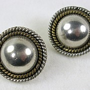 SALE Signed Mexico Vintage Sterling Silver Two Tone Dome Pierced Earrings