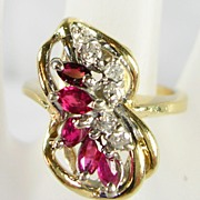 Ruby and Diamond Cocktail Ring in 14K Yellow and White Gold