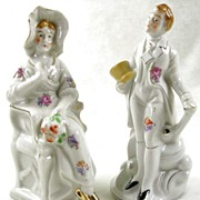 SALE Hand Painted Porcelain Victorian Style Lady & Gentleman Figurines
