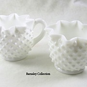 Fenton Hobnail Star Edge White Milk Glass Sugar and Creamer