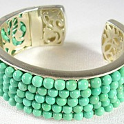 Unique Artisan Crafted Turquoise Beads and Filigree Cuff Bracelet in Sterling Silver � Stunnin