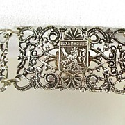 Vintage Filigree Sterling Silver Bracelet with Crests of Viaden, Luxembourg and Frontenac � Be