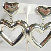 Large Vintage Sterling Silver Heart Clip Earrings