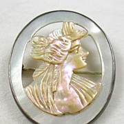 REDUCED Vintage Mother of Pearl Cameo Brooch Pin in Sterling Silver