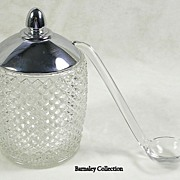 SALE Vintage Silver Plated and Crystal Preserve Condiment Jar with Glass Ladle