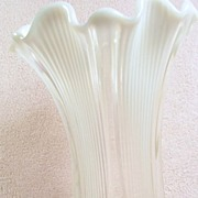 SALE Scalloped Opalescent Glass Vase