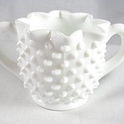 Fenton White Hobnail Double Hand Sugar Bowl