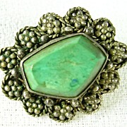 Floral Sterling Silver Brooch Pendant with a Green Turquoise Stone � Beautiful!
