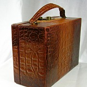 Vintage Ladies Brown Alligator or Crocodile Skin Vanity Case c. 1950�s