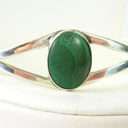 SALE Vintage Malachite Cuff Bracelet in Sterling Silver