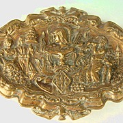 Collectible Ornate Brass Oval Dish Plaque