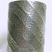 SALE Art Deco Hand Hammered Pewter Vase Container