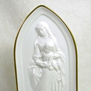 SALE Signed France Porcelain Limoges of Madonna and Child with Stand