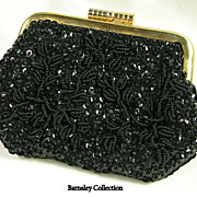 SALE Vintage Hand Beaded Evening Bag Coin Purse in Black