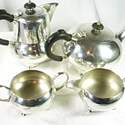 SALE Art Deco Silver Plated Four Piece Tea Coffee Set